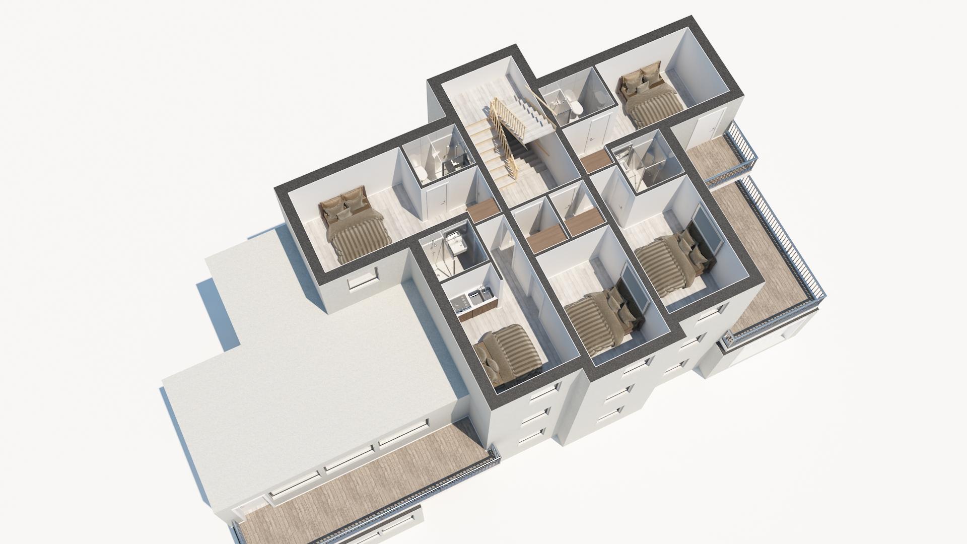3D Půdorys - 2. nadzemní podlaží